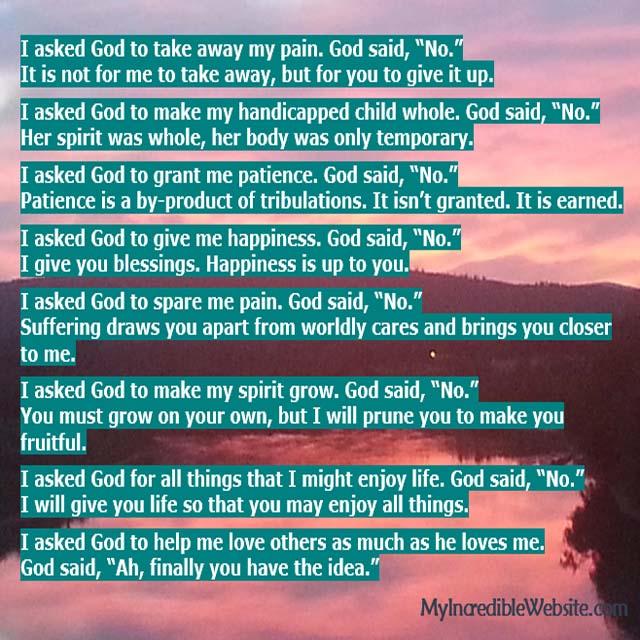 Poem: I asked God to take away my pain