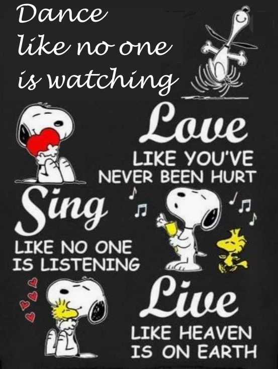 Snoopy: You've gotta dance like there's nobody watching. Love like you'll never be hurt. Sing like there's nobody listening. And live like it's heaven on earth. — William W. Purkey