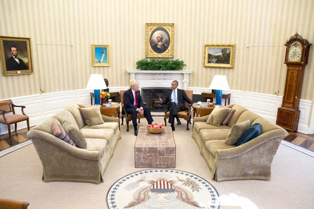 White House photo: Donald Trump meets Barack Obama