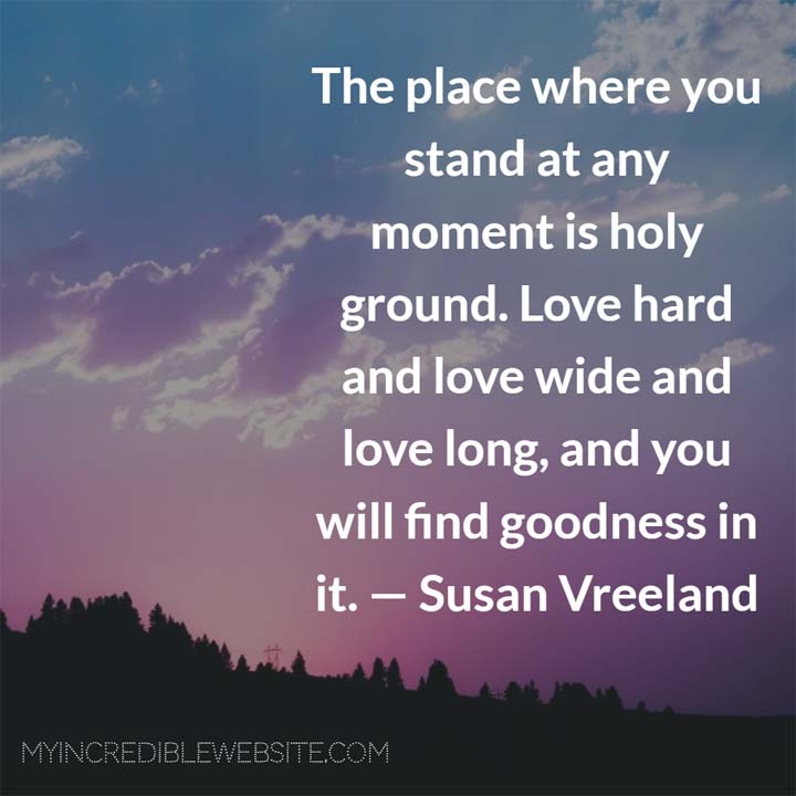 Susan Vreeland on Love: The place where you stand at any moment is holy ground. Love hard and love wide and love long, and you will find goodness in it. — Susan Vreeland, novelist, Lisette's List