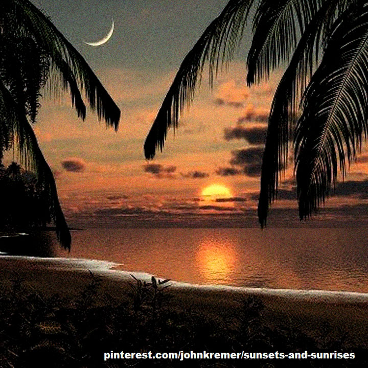 Sunset Image with Crescent Moon - One of the many sunsets included on my Sunsets and Sunrises board on Pinterest. Check out the crescent moon and golden sunset (obviously a digital creation).