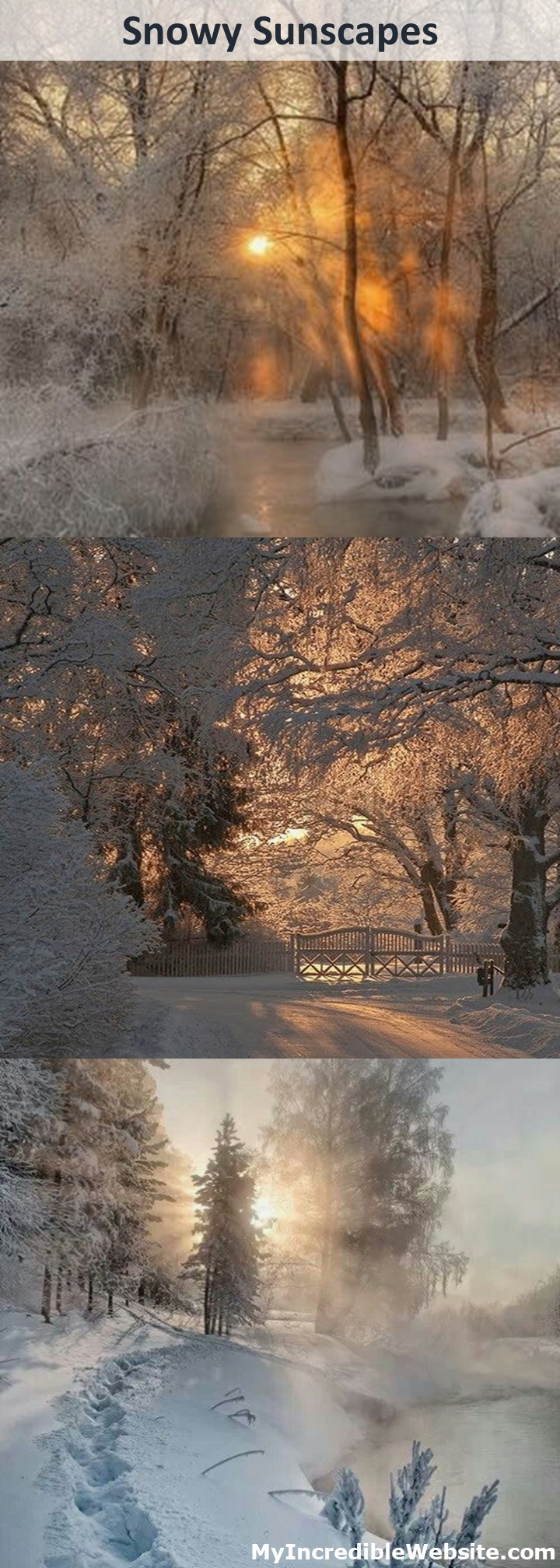 Snowy Sunscapes: Here are three beautiful snowy sunscapes I recently discovered on Pinterest. I wanted to share them with you. #winter #snow #sunsets