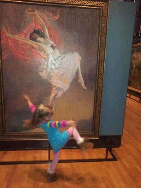 Dancing Girl in front of painting - What a free and wonderful spirit! Dance, girl, dance.