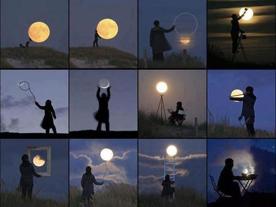12 perspective illusions using the moon: Reading by moonlight, moon balloon, lassoing the moon, playing footsy with the moon, painting the moon, measuring the moon, moonlight crystal, climbing to the moon, and more.