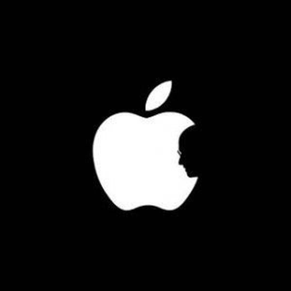 Steve Jobs Double Perspective Illusion: This double perspective illusion can be seen as a bite out of an apple – or as Steve Jobs' shadow profile over the Apple logo.