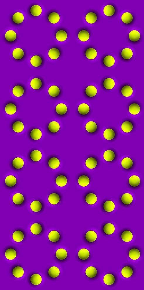 The Spinning Balls Illusion is an incredibly effective optical illusion where the balls seem to spin around the circles. Note that the illusion is stronger with this larger image.