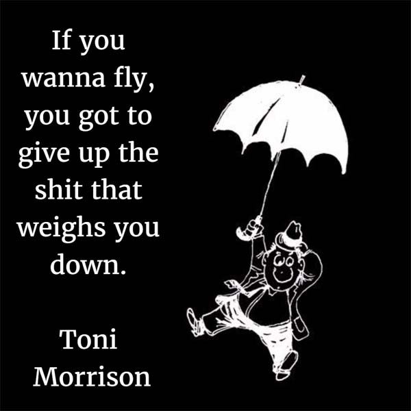 If you wanna fly, you got to give up the shit that weighs you down. — Toni Morrison