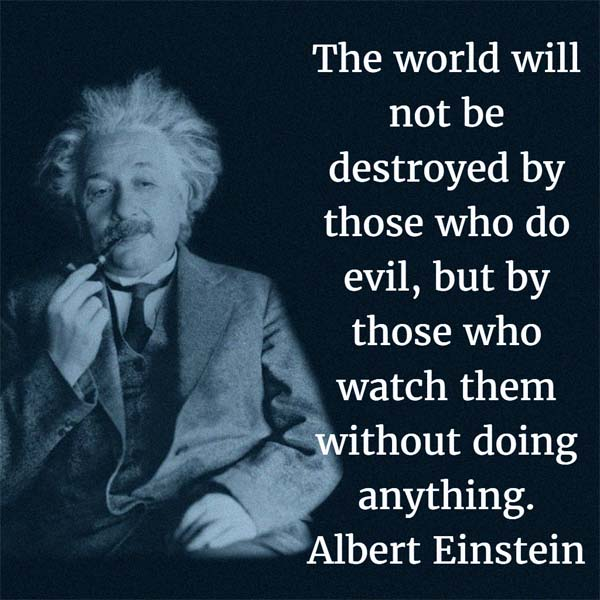 Albert Einstein: On Evil - The world will not be destroyed by those who do evil, but by those who watch them without doing anything.