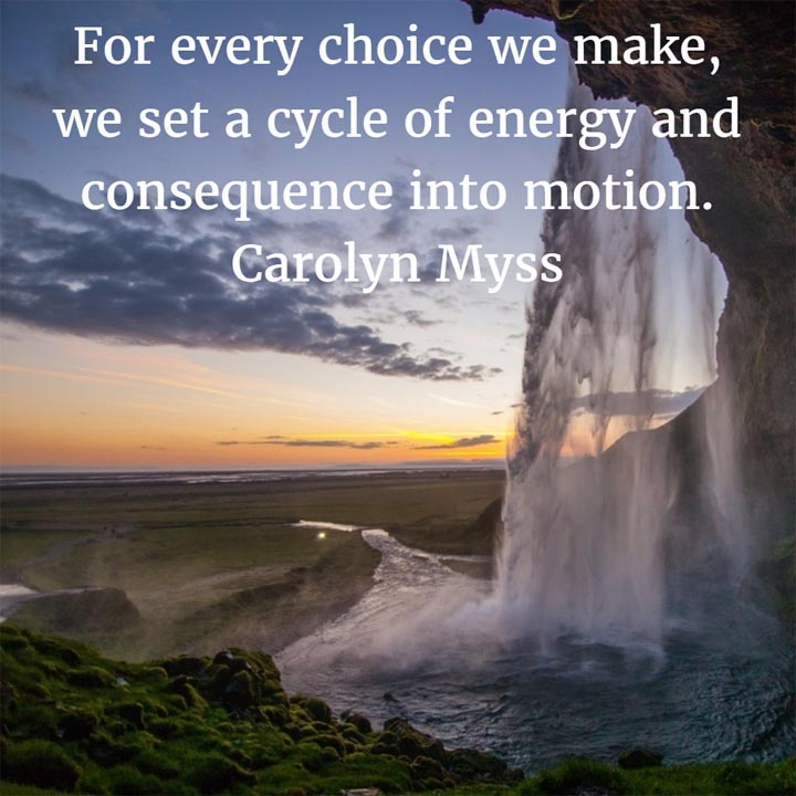 Carolyn Myss: On Making Choices - For every choice we make, we set a cycle of energy and consequence into motion.