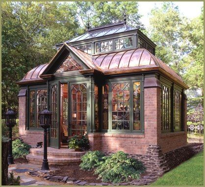Glass and Brick House: It doesn't look like it has much privacy, but it offers incredible light. It looks a little larger than the wood cabin below. This cabin is probably a large garden shed, refuge, or workplace out back of the main house. #tinyhouses
