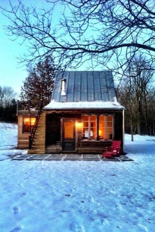 Small snowy cabin