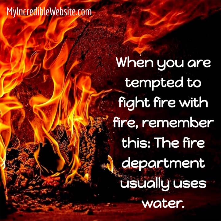 Fight Fire with Water meme: When you are tempted to fight fire with fire, remember this: The fire department usually uses water.