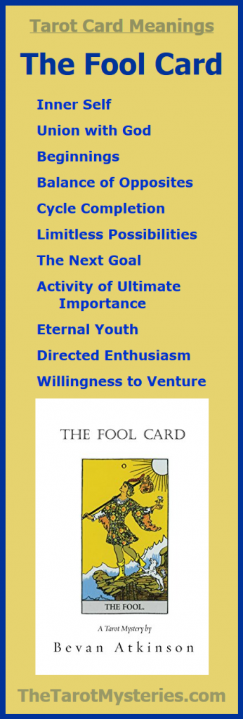 the tarot card meanings for the Fool Card from Bevan Atkinson, author of The Tarot Card Mysteries series