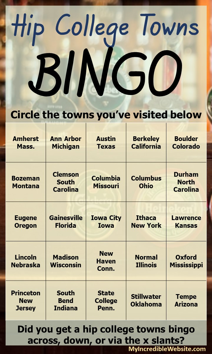 Hip College Towns Bingo
