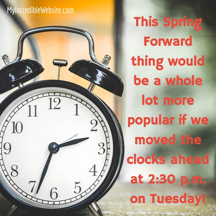 This Spring Forward thing for Daylight Savings Time would be a whole lot more popular if we moved the clocks ahead at 2:30 p.m. on Tuesday instead of 2:00 a.m. on Sunday. Let's advocate for real change!