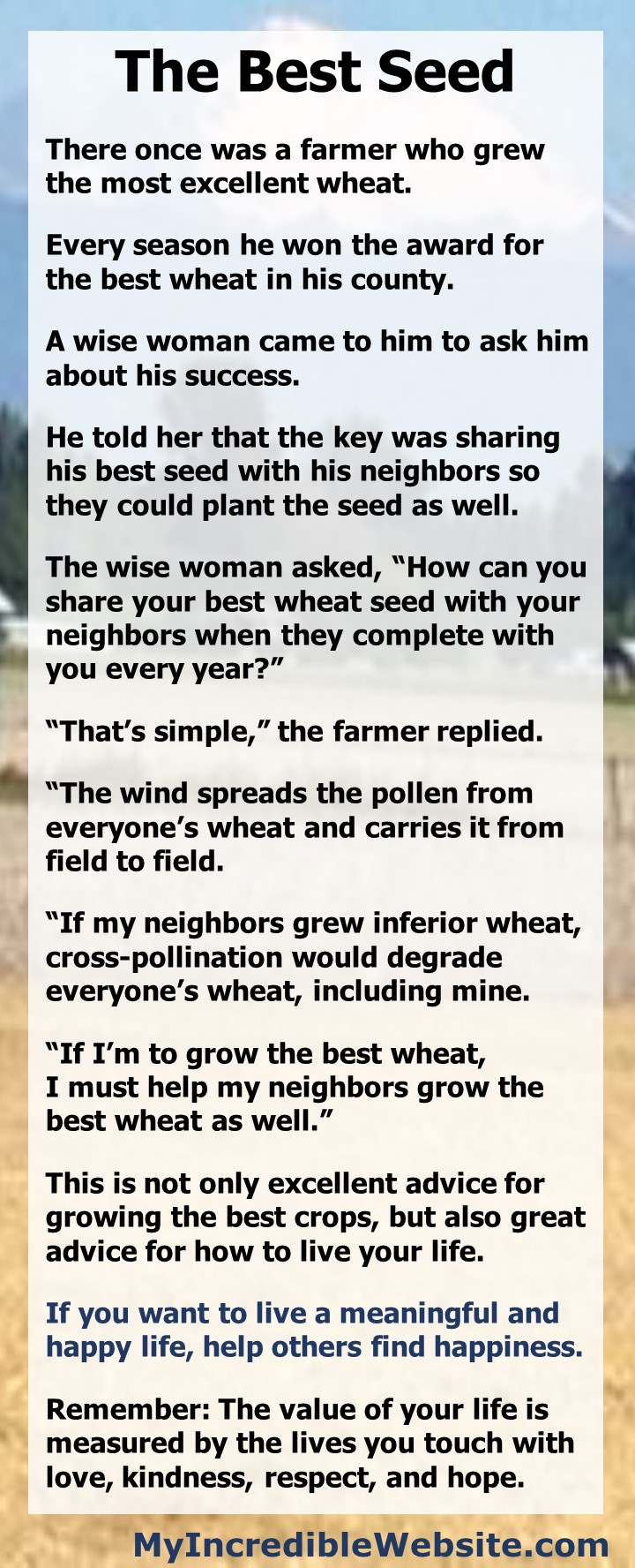 The Best Seed Short Story -