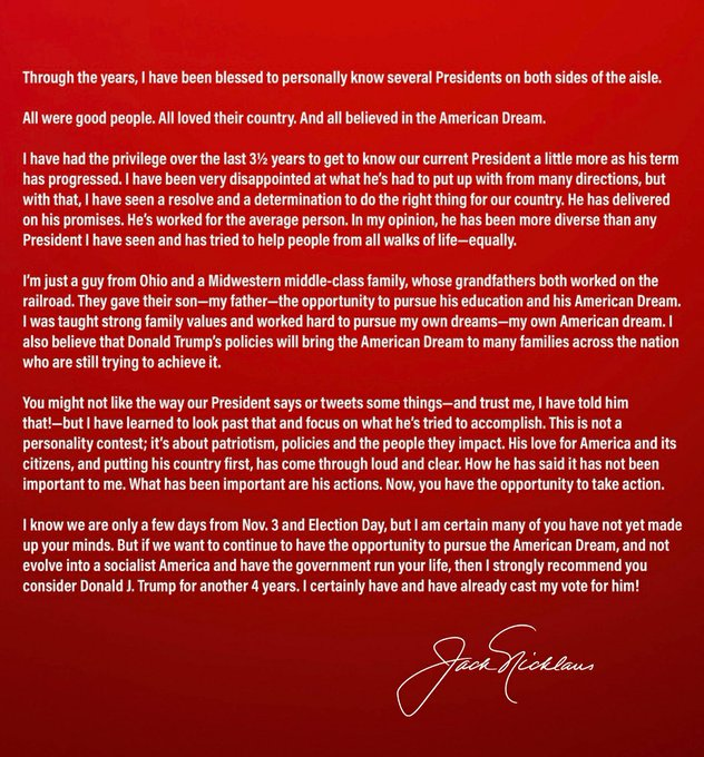 Jack Nicklaus endorses Donald Trump