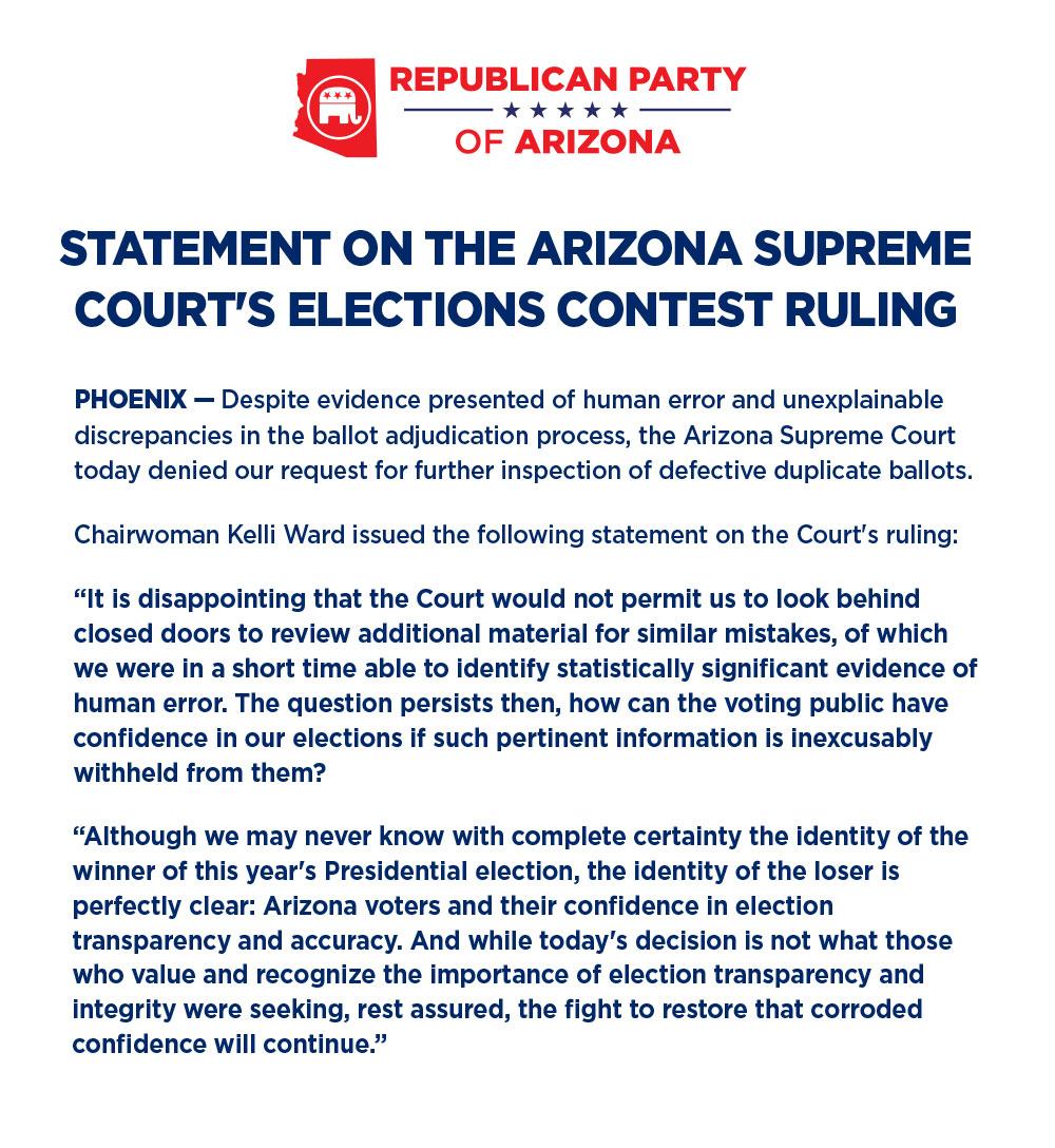 Arizona GOP Statement on 2020 Presidential Election
