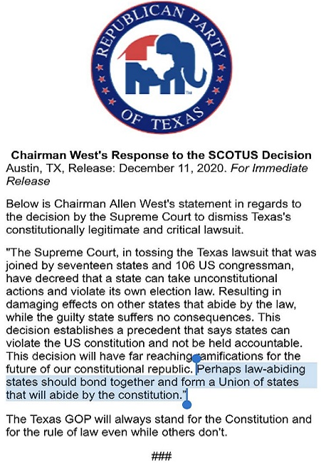Texas Response to Supreme Court Election Ruling