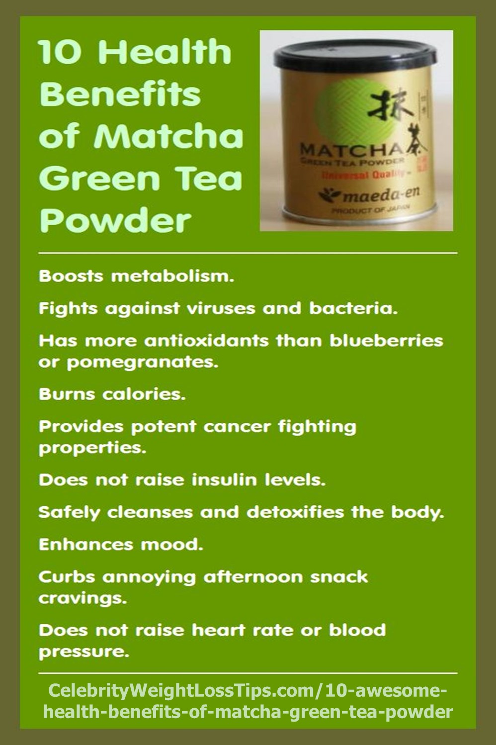 Matcha Green Tea health benefits and energy drink recipe