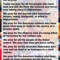 We Pray for the People of Afghanistan